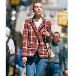 NWT Veronica Beard Harriet Cutaway Blazer Tweed 10